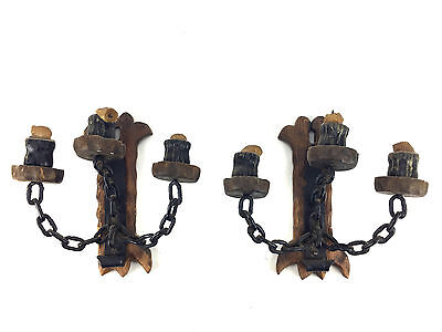 2 Matching Vintage GOTHIC MEDIEVAL Wall Sconce CANDLE HOLDER Wood Iron Chain