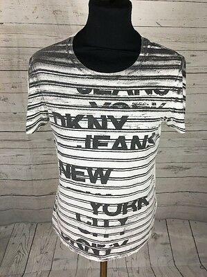 Mens Designer Dkny Genuine White Grey Slim Fitted Tee T Shirt Size Uk M