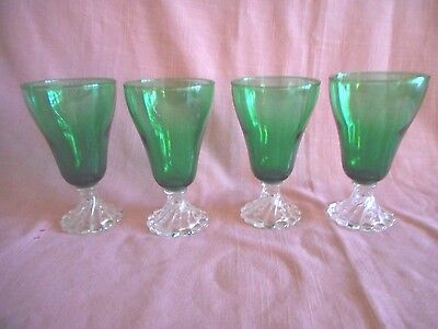 """4 Anchor Hocking 'FOREST GREEN' Boopie Burple 5"""" Footed Goblets Juice Glasses"""