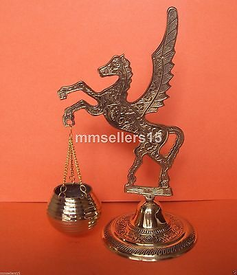 Rare Unique Brass Flying Horse Pegasus Wings Basket Stand Statue Figurine Decor