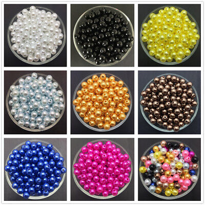 NEW 4mm 6mm 8mm 10mm Acrylic Round Pearl Spacer Loose Beads Jewelry Making