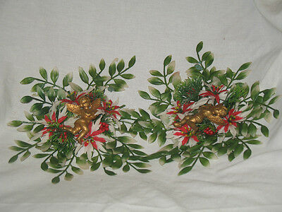 2 Vintage Plastic Wall Christmas Flowers with Gold Colored Angles
