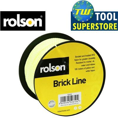 Rolson Yellow & White 100M Strong Building Chalk Nylon Brick Laying Line Rope
