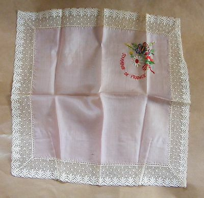 WWI First World War 1914 1918 Silk & lace Hankerchief Souvenir de France flowers