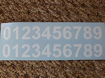 10 SETS 0-9 X-SMALL 2cm VINYL NUMBER STICKERS WHITE, HOME, BIKE, CRAFT, WORKSHOP
