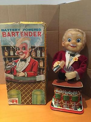T.N. Nomura 0350 Bartender battery operated tinplate and plastic toy Japan VGCIB