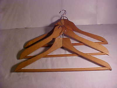 3 x Heavy Quality Traditional Wooden Clothes / Suit Hangers