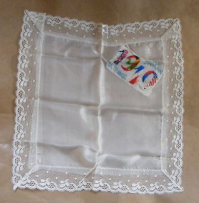 WWI First World War 1914 1918 Silk & lace Hankerchief Souvenir de France 1919
