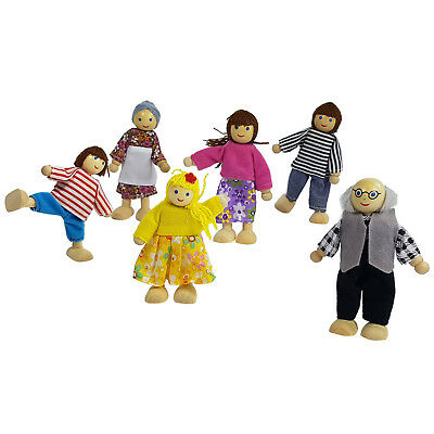 New Wooden Doll House Dolls x 6 Complete Family Miniature Dolls Pretend Play