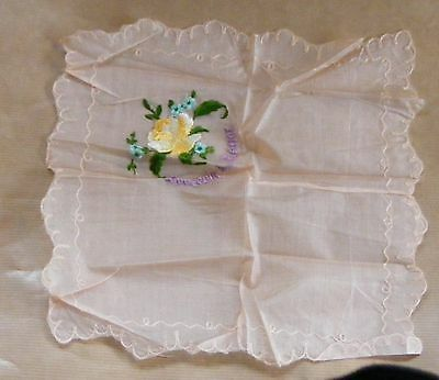 WWI First World War 1914 1918 Silk Hankerchief Souvenir from France rose