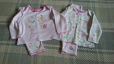2 x Mothercare baby girls Pjs 9-12 months