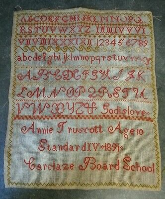 "Antique Cross Stitch Alphabet Sampler Annie Truscott 1891 14"" x 12"" unframed"