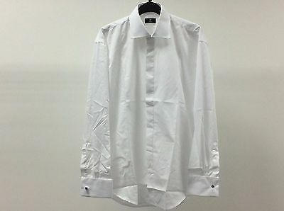 Mens White Standard Plain Dinner Tuxedo Formal Dress Shirt Size 15 1/2 - 2A209