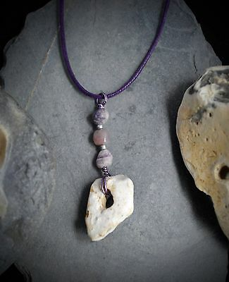 Hag Stone Pendant Fairy or Wish Stone Talisman Wiccan Pagan Witches Stone Awen