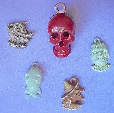 Red skull moving jaw vintage monster charms Frankenstein witch wolf jolly roger