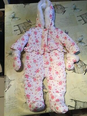 Beautiful Girls Snowsuit With Detachable Mittens Age 3-6 Months