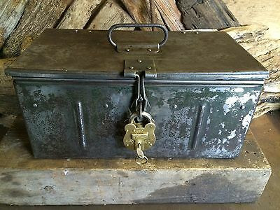 Vintage Old Tool Box With Brass Padlock