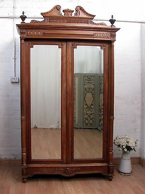 Delightful Antique French Crested Carved Walnut Armoire Bookcase - C1900
