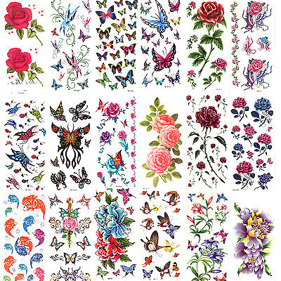 Ladies 3D Roses Butterfly flowers Tattoo Sticker Temporary Body Art Waterproof