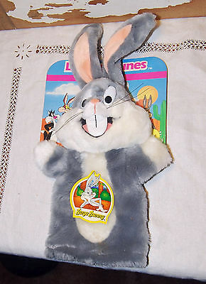 Vintage 1993 BUGS BUNNY Hand Puppet Plush ON CARD w/tag HTF Looney Tunes