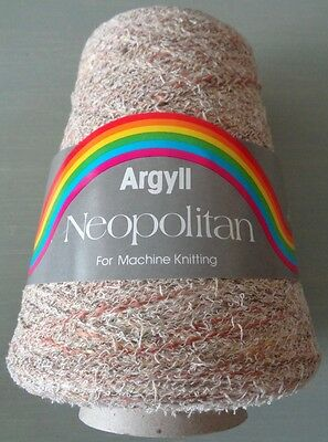 340g MACHINE KNITTING cone YARN multi-colour oatmeal boucle hand knit weave A
