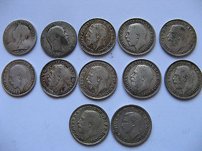 x12 Silver Threepence pieces Victoria to Edward the Sixth