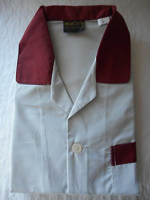 MACY'S men's vintage pyjamas - size XL - grey/burgundy trim - NEW