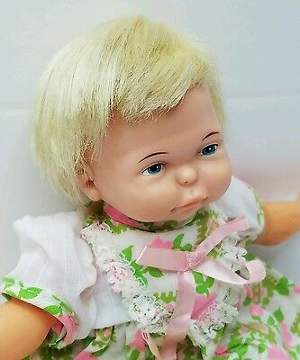 Newborn Thumbelina Doll Vintage 1967 WORKS Pullstring Moving, Wiggling Baby Doll