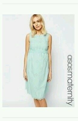 Asos mint green broderie maternity dress size 14