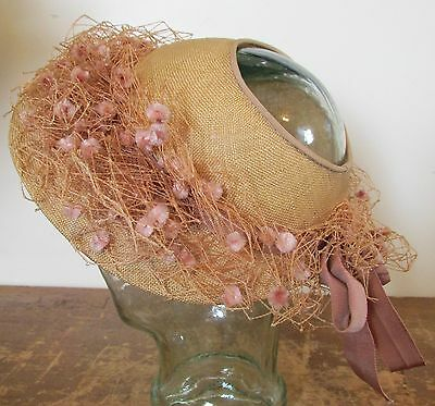 Vintage c1930's Open Crown Natural Straw, Blush Pink Chenille Dotted Veil, Hat