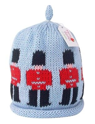 MERRY BERRIES Guardsman on Sky Blue Knitted Baby Hat - 100% Cotton - NEW