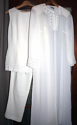 Stunning Ivory Ladies 3 piece Bridal suit /outfit/ Top/Trousers/Long jacket Sz10