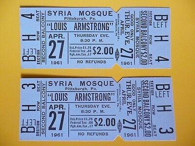 Louis Armstrong Satchmo unused concert ticket pair Pittsburgh PA April 27 1961