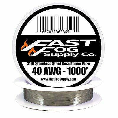 SS 316L - Stainless Steel Wire 1000ft of 40 Gauge AWG by Fast Fog