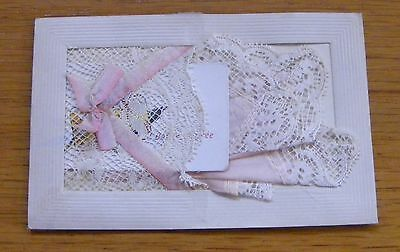 WW1 Embroidered Silk & lace Postcard with hankerchief Bonne Annee insert