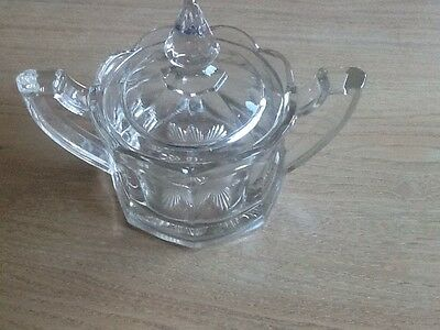 Vintage Glass Covered Sugar Bowl With Handles