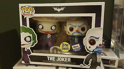 Dark Knight Joker Twin Pack Funko Pop Vinyl Limited edition Glow in the Dark