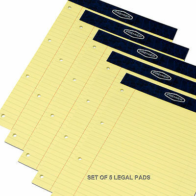 A4 Legal Pads Yellow Feint Ruled Punched Paper Notepad Memo Book Pads Set of 5