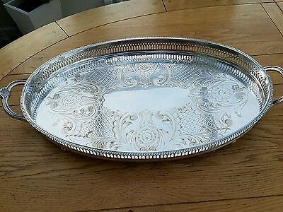 SUPERB English Vintage Silver Plated Large Oval Footed Gallery Tea Serving Tray