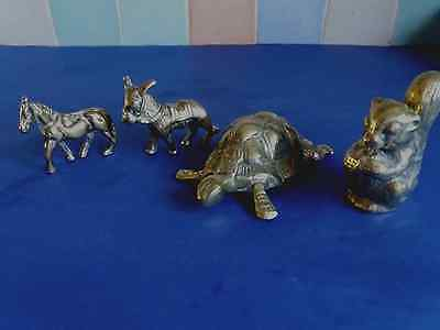4Brass Ornaments Horse,Donkey Squirrel and Tortoise