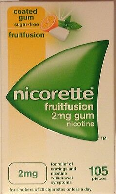 Nicorette Frutifuion flavour 2mg  Coated Gum - 105 Pieces (Genuine)