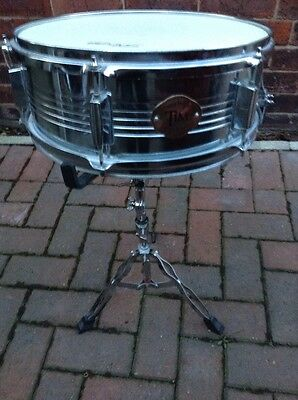 Free P&P. Stagg Tim 14x5 Chrome Shell Snare Drum w Stand for Drum Kit