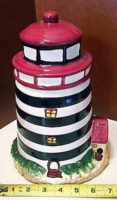 Ceramic LIGHTHOUSE Cookie Jar - Hand Painted, Embossed - Alco Industries - NIB