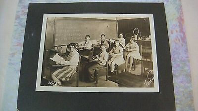 Vintage 1928 Math Sight Saving Class Room Desks Children Black White Photo Mi