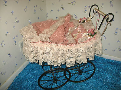 Decorative Doll Pink Display Carriage Wicker/ Metal/ Lace/ Vintage 1980s
