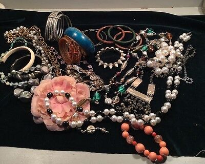 job lot of vintage & modern costume jewellery necklaces bangles faux pearls