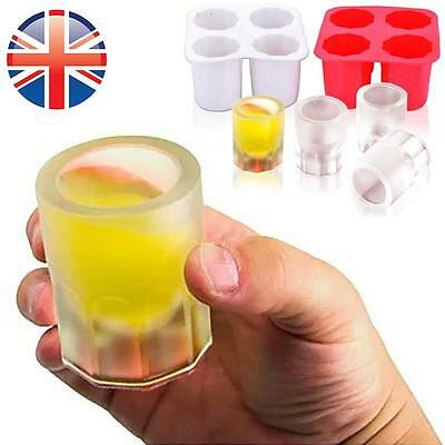 *UK Seller* Silicone Ice Shot Glasses Mould 4 Cavity Cube Tray Party Shooters