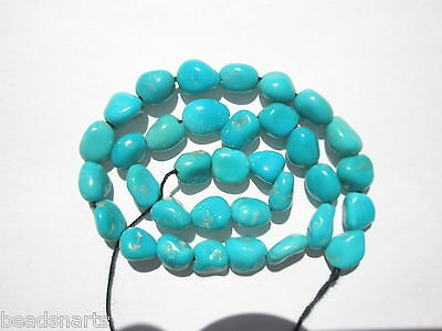 """Genuine Sleeping Beauty Turquoise small Nugget  Beads-  6-7x4-5mm - 8.25"""" Strand"""