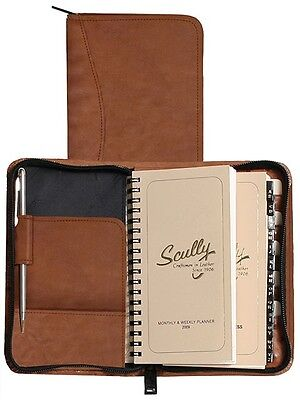 """New Scully Nappa  Leather 5"""" X 8"""" Monthly & Weekly Planner Agenda Brown"""