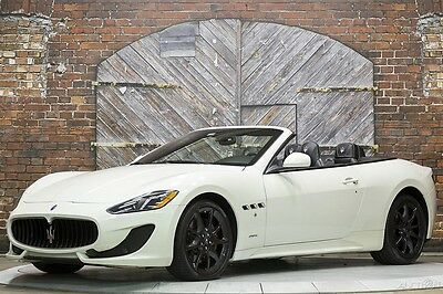 2014 Maserati Gran Turismo Sport Convertible Bianco White 1 Local Owner 14 GT 454 hp 4.7L V8 Black Leather New Rear Tires High Gloss Trim Stitching